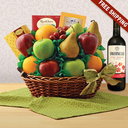 Garden Fresh Fruit and Red Wine Gift Basket