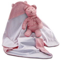 Girl's Swaddle Blanket N' Bear Gift Set