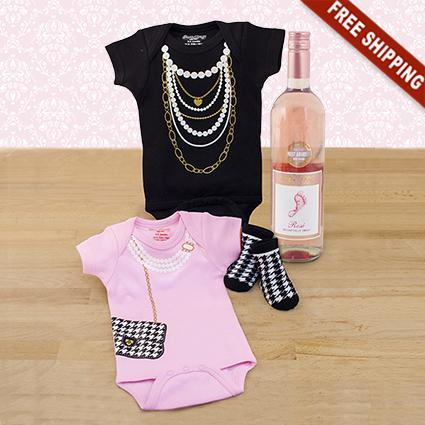 Girly Girl Bodysuits & Wine Gift Set