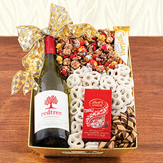 Good Cheer White Wine Gift Basket