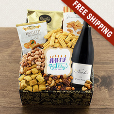 Happy Birthday Red Wine & Snax Gift Box
