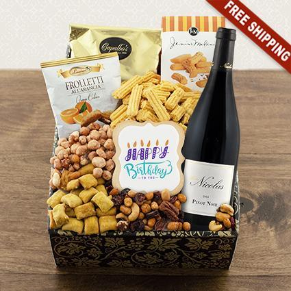 Happy Birthday Red Wine Snax Gift Box
