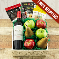 Happy & Healthy Organic Wine, Fruit & Snax Gift Box