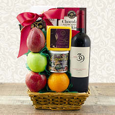 Refreshing Fruit & Red Wine Gift Basket