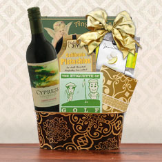 Hole In One Golf & Red Wine Gift Basket