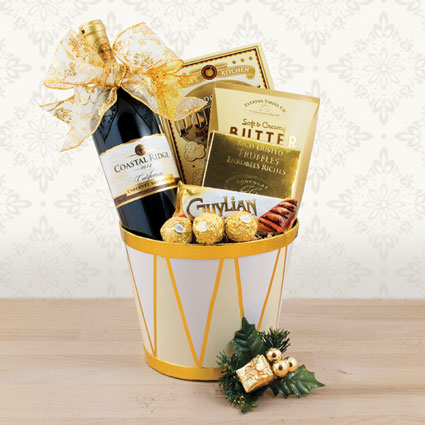 Holiday Drum & Red Wine Gift Basket