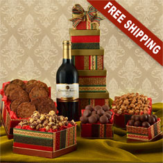 Holiday Red Wine & 5-Box Gourmet Gift Tower
