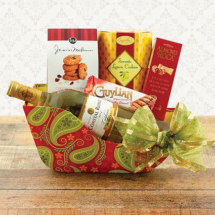 Holiday Sleigh Ride White Wine Gift Basket