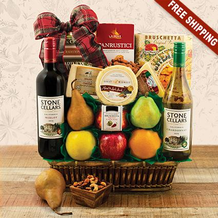 In Good Taste Wine, Cheese & Fruit Gift Basket