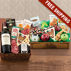 Italian Wine, Fruit, Cheese & Gourmet Double Decker Gift Box