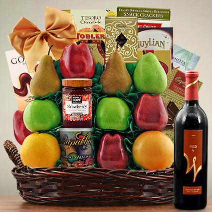 Jerusalem Wine, Fruit & Kosher Food Gift Basket