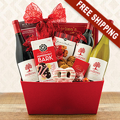 Joy To The World Triple Wine Gift Basket