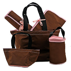 Kalencom Chocolate Brown & Pink 5-Piece Diaper Bag Gift Set