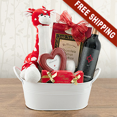 Love Is In The Air Red Wine Gift Basket
