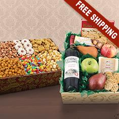 Magnificent Merlot, Fruit, Cheese & Gourmet Double Decker Gift Box