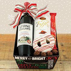 Merry and Bright Red Wine Gift Basket