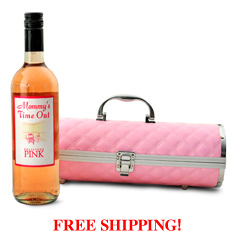 Mommy's Time Out Pink Wine & Purse Caddy