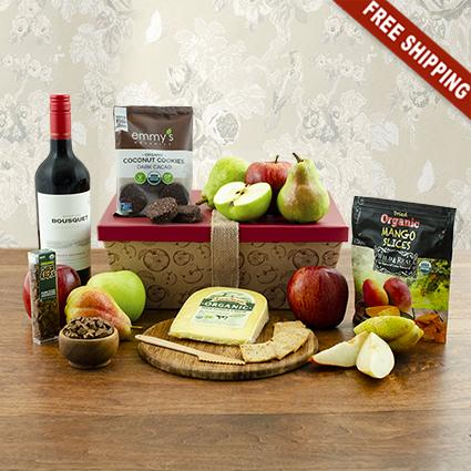 Organic Red Wine & Fruit Gift Box