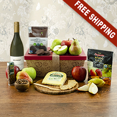 Organic White Wine & Fruit Gift Box