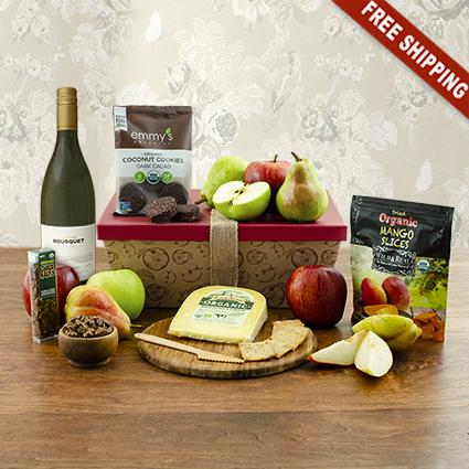 Organic White Wine & Fruit Gift Box