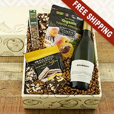 Organic White Wine & Snax Gift Box