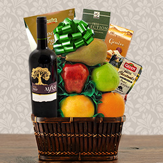 Malbec Syrah, Chocolate & Fresh Fruit Gift Basket