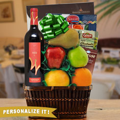 Passover Red Wine, Chocolate & Fresh Fruit Gift Basket
