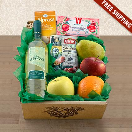 Passover White Wine, Fruit & Snax Gift Box