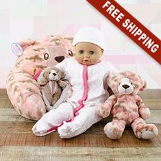Pink Camo Bear Lounger, Blankie & Stuffed Animal Trio Gift Set