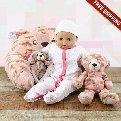 Pink Bear Lounger, Blankie & Stuffed Animal Trio Gift Set