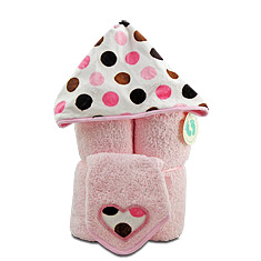 Pink Dots Hooded Towel & Washcloth Gift Set