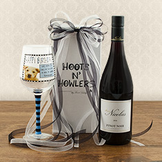 Pinot Noir & Happy Birthday Wine Glass Gift Duo