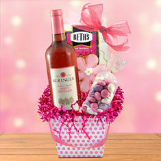 Pretty In Pink Easter Wine Basket