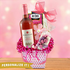 Pretty In Pink Wine Basket