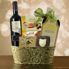Purim Celebration Red Wine Gift Basket