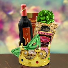 Purim Crowning Touch Red Wine Gift Basket