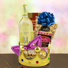 Purim Crowning Touch  White Wine Gift Basket