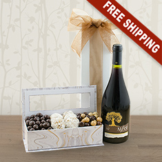 Purim Joy Red Wine & Sweets Gift Basket