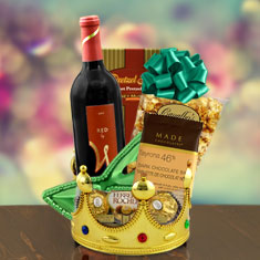 Purim Monarch For A Day Red Wine Gift Basket