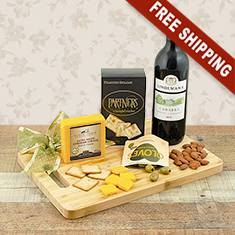 Red Wine & Cheese Board Gift Basket