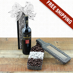 Red Wine & Chocolates Bottle Gift Basket
