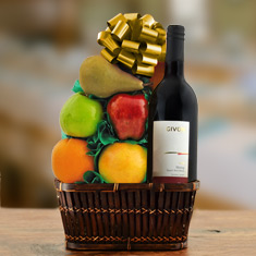 Red Wine & Fresh Fruit Gift Basket