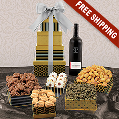 Red Wine & Classic 5-Box Snack Tower Gift Set