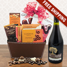 Red Wine & Godiva Chocolate Bliss Gift Basket