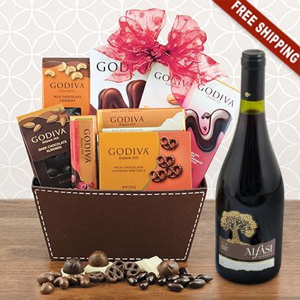 Red Wine & Godiva Chocolate Bliss Gift Basket