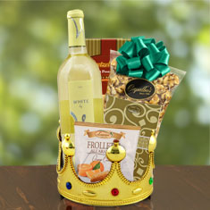 Royalty For A Day White Wine Gift Basket
