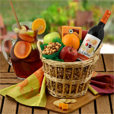 Sangria Wine, Fruit & Cheese Gift Basket