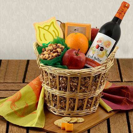 Sangria Wine, Fruit & Cheese Gift Basket