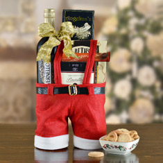 Santa Pants Whimsical Wine Tote