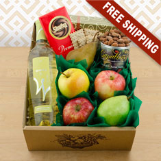 White Wine, Fruit & Snax Gift Box
